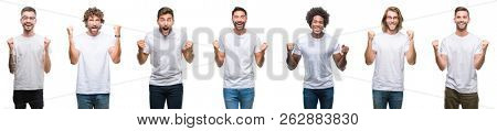 Collage of young caucasian, hispanic, afro men wearing white t-shirt over white isolated background celebrating surprised and amazed for success with arms raised and open eyes. Winner concept.