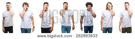 Collage of young caucasian, hispanic, afro men wearing white t-shirt over white isolated background covering one eye with hand with confident smile on face and surprise emotion.