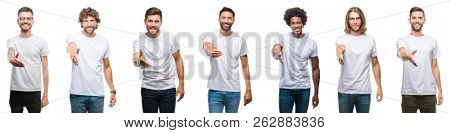 Collage of young caucasian, hispanic, afro men wearing white t-shirt over white isolated background smiling friendly offering handshake as greeting and welcoming. Successful business.