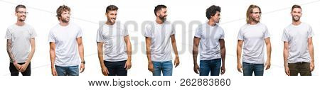 Collage of young caucasian, hispanic, afro men wearing white t-shirt over white isolated background looking away to side with smile on face, natural expression. Laughing confident.