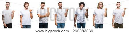 Collage of young caucasian, hispanic, afro men wearing white t-shirt over white isolated background smiling with happy face looking and pointing to the side with thumb up.