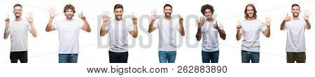 Collage of young caucasian, hispanic, afro men wearing white t-shirt over white isolated background showing and pointing up with fingers number six while smiling confident and happy.