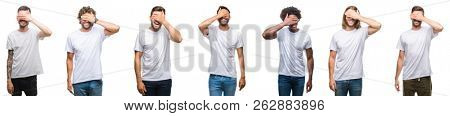 Collage of young caucasian, hispanic, afro men wearing white t-shirt over white isolated background smiling and laughing with hand on face covering eyes for surprise. Blind concept.