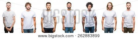 Collage of young caucasian, hispanic, afro men wearing white t-shirt over white isolated background with serious expression on face. Simple and natural looking at the camera.