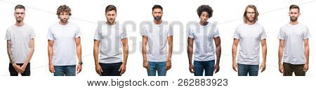 Collage of young caucasian, hispanic, afro men wearing white t-shirt over white isolated background skeptic and nervous, frowning upset because of problem. Negative person.