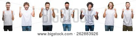 Collage of young caucasian, hispanic, afro men wearing white t-shirt over white isolated background excited for success with arms raised celebrating victory smiling. Winner concept.
