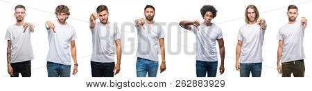 Collage of young caucasian, hispanic, afro men wearing white t-shirt over white isolated background looking unhappy and angry showing rejection and negative with thumbs down gesture. Bad expression.