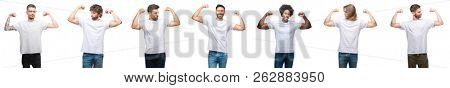 Collage of young caucasian, hispanic, afro men wearing white t-shirt over white isolated background showing arms muscles smiling proud. Fitness concept.