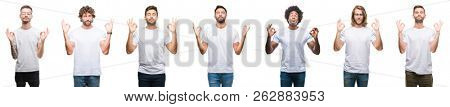 Collage of young caucasian, hispanic, afro men wearing white t-shirt over white isolated background relax and smiling with eyes closed doing meditation gesture with fingers. Yoga concept.