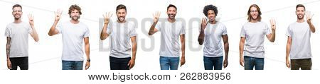 Collage of young caucasian, hispanic, afro men wearing white t-shirt over white isolated background showing and pointing up with fingers number four while smiling confident and happy.