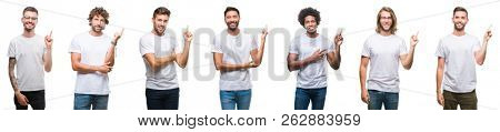 Collage of young caucasian, hispanic, afro men wearing white t-shirt over white isolated background with a big smile on face, pointing with hand and finger to the side looking at the camera.