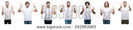 Collage of young caucasian, hispanic, afro men wearing white t-shirt over white isolated background showing and pointing up with fingers number ten while smiling confident and happy.
