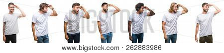 Collage of young caucasian, hispanic, afro men wearing white t-shirt over white isolated background very happy and smiling looking far away with hand over head. Searching concept.