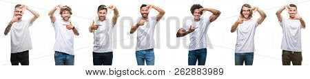 Collage of young caucasian, hispanic, afro men wearing white t-shirt over white isolated background smiling making frame with hands and fingers with happy face. Creativity and photography concept.