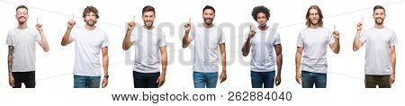 Collage of young caucasian, hispanic, afro men wearing white t-shirt over white isolated background showing and pointing up with finger number one while smiling confident and happy.