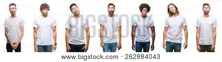 Collage of young caucasian, hispanic, afro men wearing white t-shirt over white isolated background making fish face with lips, crazy and comical gesture. Funny expression.
