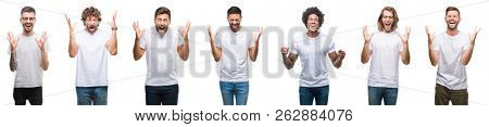 Collage of young caucasian, hispanic, afro men wearing white t-shirt over white isolated background celebrating mad and crazy for success with arms raised and closed eyes screaming excited. Winner