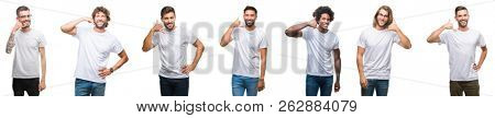 Collage of young caucasian, hispanic, afro men wearing white t-shirt over white isolated background smiling doing phone gesture with hand and fingers like talking on the telephone. Communicating