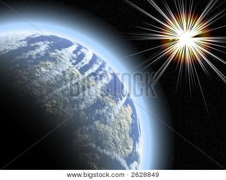 Planet With Starburst