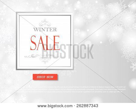 Winter Shopping Sale Banner With Lettering. Snow Blurred Background. Holiday Sale With Snowflakes Ov