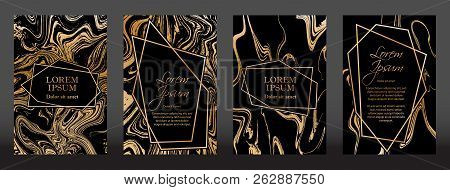 Gold Marble Texture And Geometric Frames On Black Backgrounds Vector Set. Luxury Design For Brochure