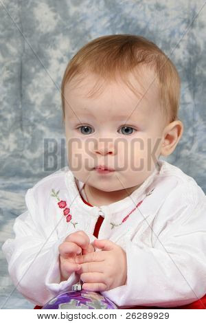 Little Baby Girl in Christmas dress