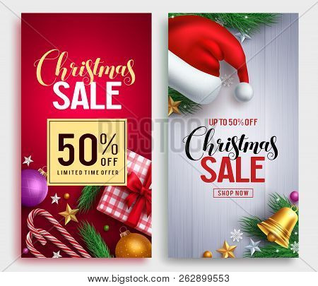 Christmas Sale Vector Poster Design Set With Sale Promotional Text And Colorful Christmas Elements I