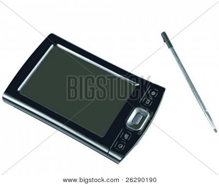 PDA and Pen on White background (vector)