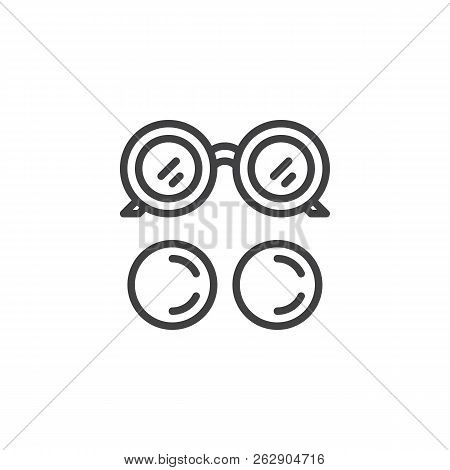 Eye Glasses And Eye Lens Outline Icon. Linear Style Sign For Mobile Concept And Web Design. Ocular S