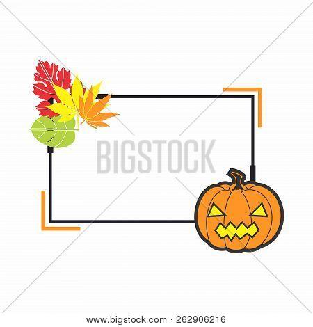 Halloween Holiday Frame. Web Vector Banner, Design Element