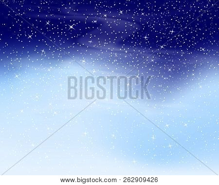 Snow background. Vector illustration with snowflakes. Winter snowing sky.