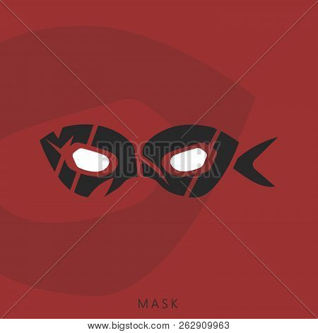 Mask Word Mark. Text Illustration. Identity Logotype. Brand Design. Typography Design. Comics Eyes.