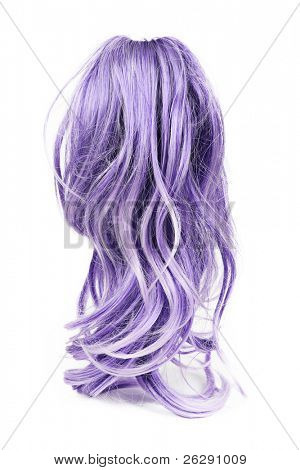 Wig of long purple hair isolated on white