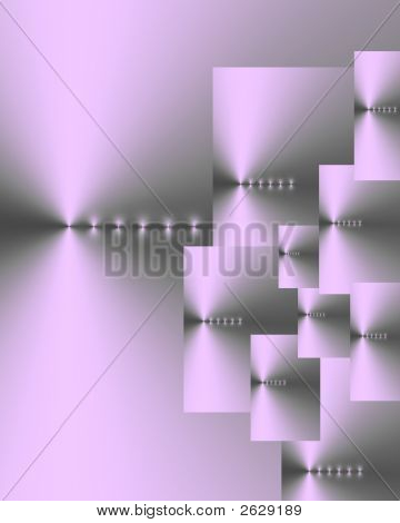 Abstract of ten overlaid silver lilac and gray rectangles of various sizes with six points of light in a horizontal line on each. poster