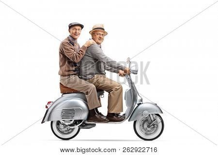 Full length shot of two senior men riding on a vintage scooter isolated on white background