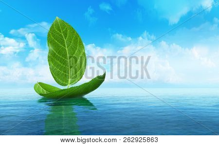 Ship made of leaves.