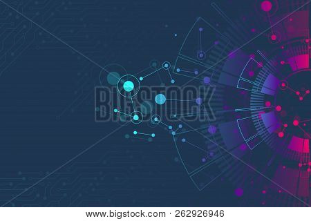 Abstract Background With Technology Circuit Board Texture. Futuristic Digital Circle. Communication