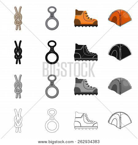 Vector Illustration Of Mountaineering And Peak Symbol. Set Of Mountaineering And Camp Stock Vector I