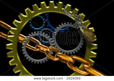 Turning Gears And Chain Links