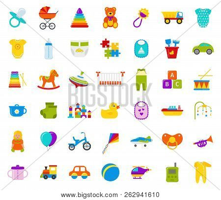 Baby Toys. Vector. Set Kids Toy. Baby Shower Stuff In Flat Design Isolated On White Background. Colo
