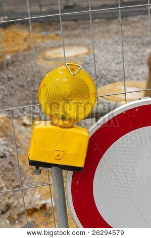 Safety lamp at a road construction site