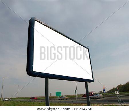 Blank advertisement board on the roadside