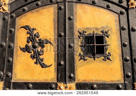 Detail Of An Ancient Door Of The Neue Rathaus Of Munich (new Town Hall) Xix Century Neo-gothic Style