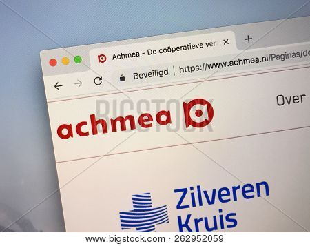 Amsterdam, Netherlands - October 13, 2018: Website Of Achmea, One Of The Largest Suppliers Of Financ