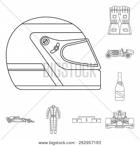 Vector Design Of Car And Rally Sign. Set Of Car And Race Stock Symbol For Web.