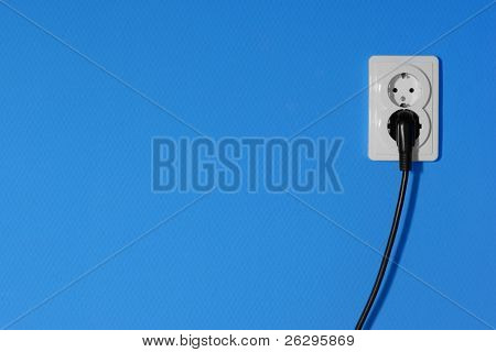Electric outlets on a blue wall poster