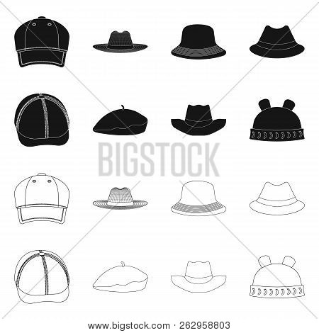 Vector Design Of Headgear And Cap Logo. Set Of Headgear And Accessory Stock Vector Illustration.