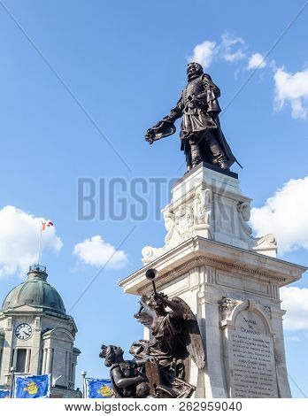 Quebec City, Canada - Aug 22, 2012: Monument Of Samuel De Champlain Erected In 1898 In Memory Of The