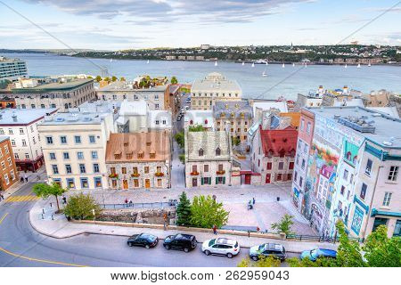 Quebec City, Canada - Aug 21, 2012: Aerial View Of Place Royal At Old Quebec City With Old Port On T