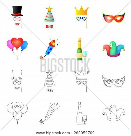Isolated Object Of Party And Birthday Logo. Collection Of Party And Celebration Stock Symbol For Web